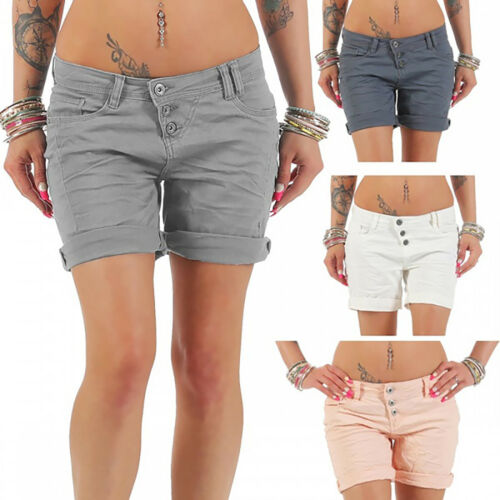 Womens High Waist Skinny Jean Shorts Ladies Summer Trousers Pants Plus Size 4-18