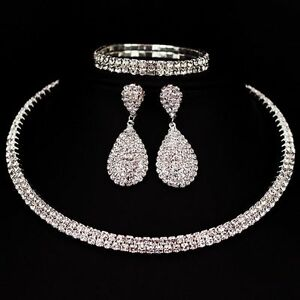 Image Is Loading Crystal Diamond Choker Necklace Earrings And Bracelet Wedding