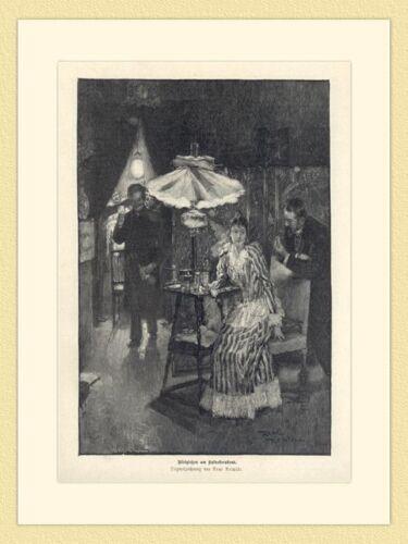 Bleigießen am Sylvesterabend Orakel von Rene Reinicke Holzstich GL II 753