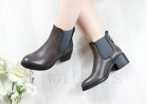 LADIES WOMENS FLAT CHELSEA ANKLE BOOTS LOW BLOCK HEEL BOOTS ELASTIC SHOES SIZE