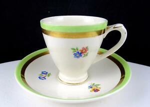 "EMPIRE WARE ENGLAND MULTI FLORAL GOLD & GREEN RIM DEMITASSE 2 3/8"" CUP & SAUCER"