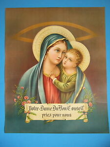 Vintage-Catholic-Print-Picture-Our-Lady-of-Good-Counsel-15x19-never-displayed