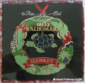 Hawaiian-HONU-TURTLE-XMAS-METAL-ORNAMENT-Hawaii-New-DieCut-Mele-Kalikimaka-Ocean