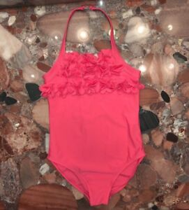 68fe035814bf4 NWT  98 Lili Gaufrette Paris Ruffled Pink Halter One-Piece Swimsuit Youth  Girls