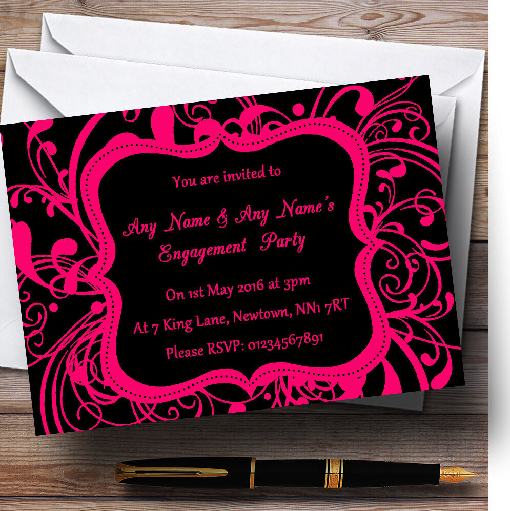 Noir et Rose Swirl Swirl Rose déco Personnalisé Fiançailles invitations 9c960e