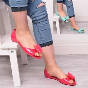 Womens-Summer-Bow-Jellies-Jelly-Slip-On-Sandal-Holiday-Beach-Peep-Toe-Flat-Shoes