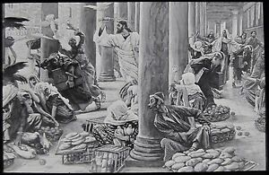 Glass-Magic-Lantern-Slide-DRIVING-TRADERS-FROM-TEMPLE-C1890-RELIGION-JESUS