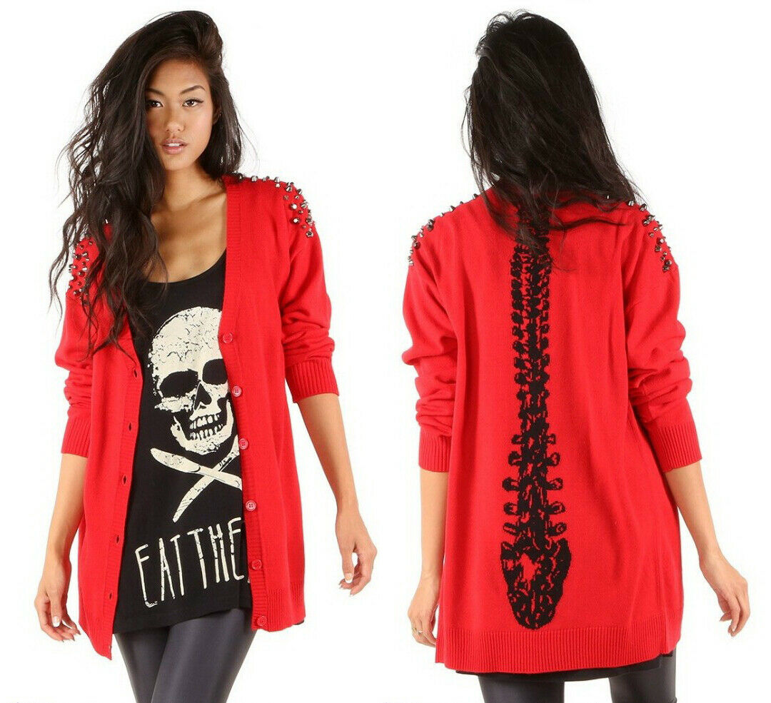 IRON FIST Spineless Cardigan Red Knit Studded Spine Punk RARE NWT Ladies Womens
