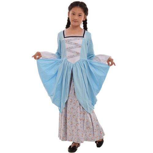 6-14 Years Kids Dress Colonial Pioneer Girl/'s Reenactment Carnival Costume Dress