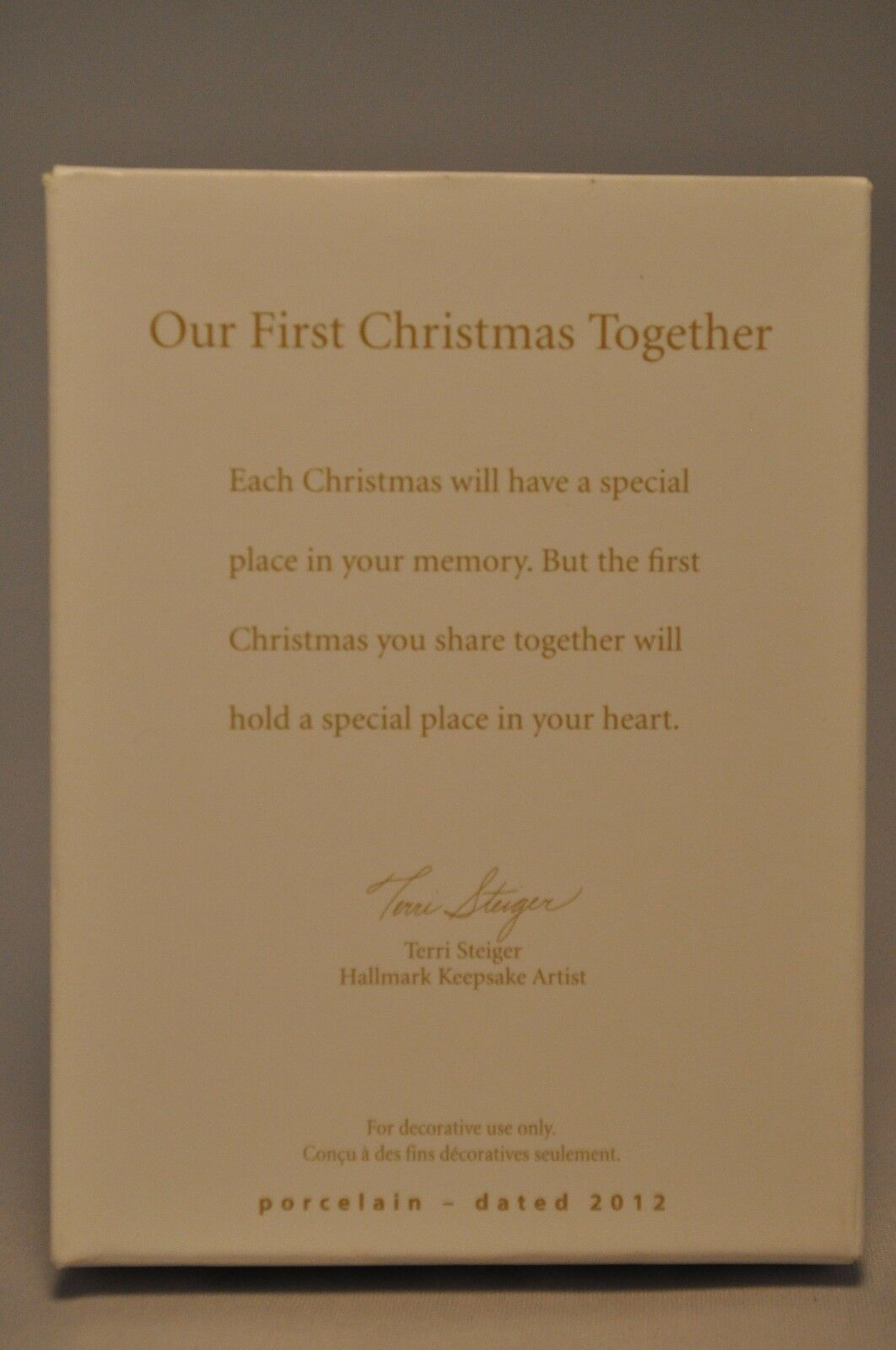 NIB 2012 HALLMARK CHRISTMAS ORNAMENT OUR FIRST CHRISTMAS TOGETHER PORCELAIN NEW