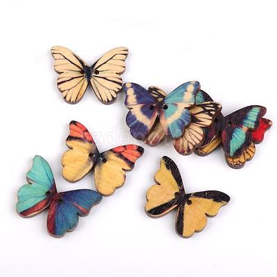 100 Assorted Butterfly Wooden Sewing Buttons Scrapbooking Craft 2 Holes 28mm