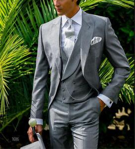 grigio abito 3 sposo gilet doppio petto uomo pezzo elegante vestito rZ4rnwgRqx