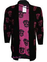 New Ladies Women's Wine Skull Knitted Boyfriend Cardigan Top UK Plus Sizes