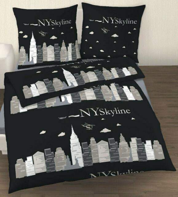 Bettwäsche 155x220 Cm Ny Skyline Schwarz New York Baumwolle Günstig