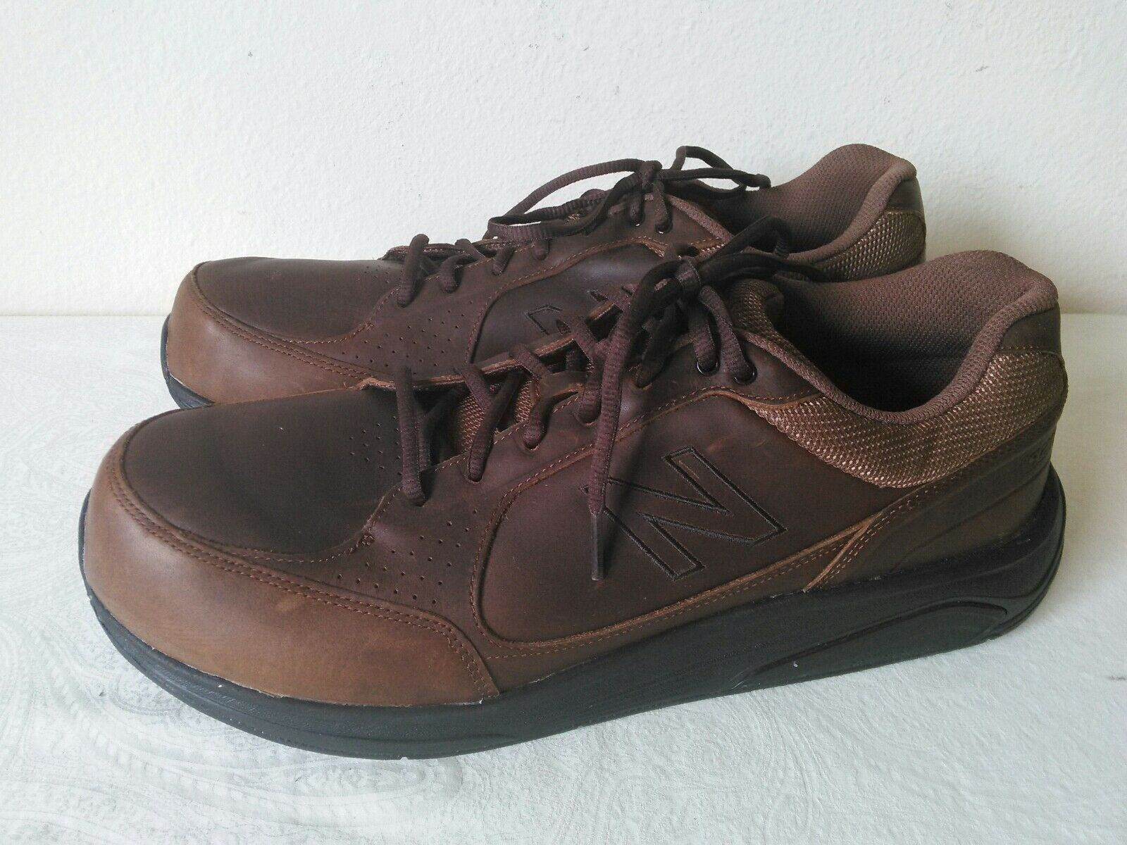 NEW BALANCE Walking Strike Path Men's Brown Leather lace up shoes Size 14 2E
