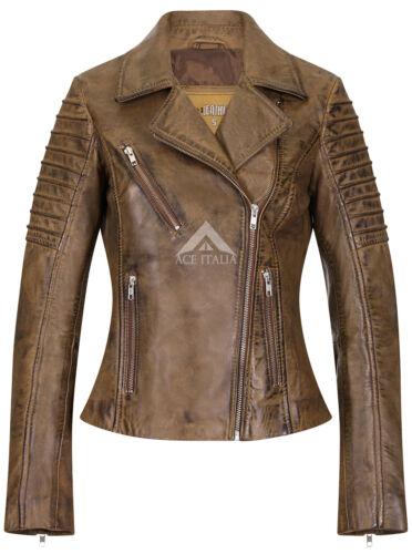 Ladies Leather Jacket Dirty Brown Designer Biker Motorcycle Style 9334