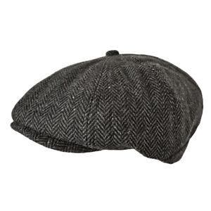 a023eaf3157 Toskatok Unisex Mens Ladies 8 Panel Herringbone Wool Blend Baker Boy Cap.