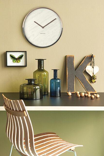 Karlsson Marble Wall Clock - Copper & White Unique Art Modern Home Timepiece