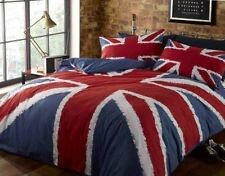 UNION JACK RED WHITE BLUE KING SIZE COTTON BLEND DUVET COVER SET
