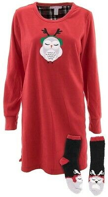 Pillow Talk Womens Owl Red Black Fleece Nightgown and Socks Sleep Shirt