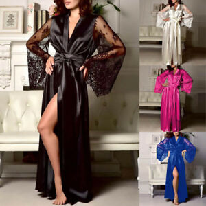 Women-Satin-Long-Nightdress-Silk-Lace-Lingerie-Nightgown-Sleepwear-Bath-Robe