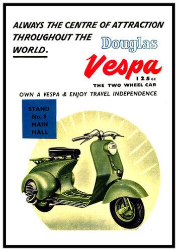 Douglas Vespa Wall art. Vintage motor scooter advertising Reproduction poster