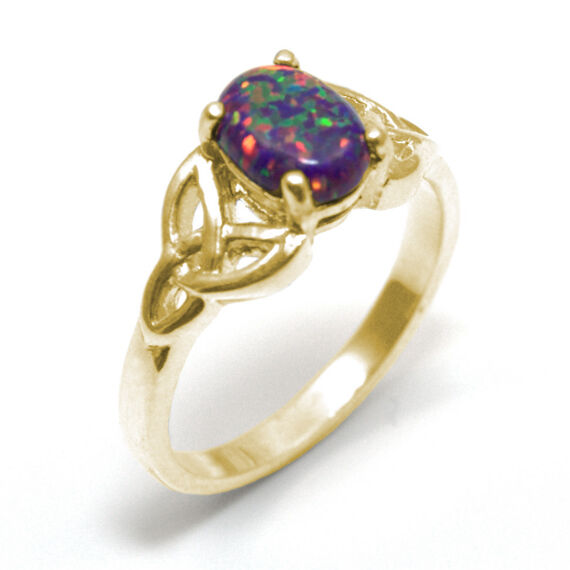 Trinity Knot Ring 9ct gold 1ct Oval Dragons Eye Cultured Opal (OP76)