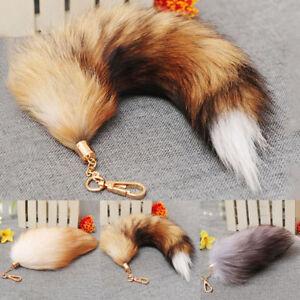 Fashion-Bag-Tag-Accessory-Big-Fox-Tail-Fur-Tassel-Keychain-Ring-Real-Fox-F-I8L8