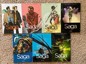 Graphic-Novel-Lot-Saga-Image-Comics-Vol-1-2-3-4-5-6-7-TPB-Issues-1-42
