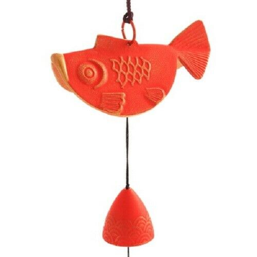 Japanese Wind Chime Bell Cast Iron Red Gold Goldfish XL 485-510 Made in Japan