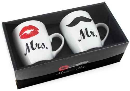 BRUBAKER 2er Set Becher Kaffebecher Mug Kaffeetasse Tasse Mr /& Mrs Geschenkset