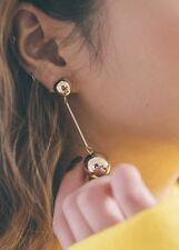 14K Yellow Gold Plated  Long Ball Dangle Drop Fashion Earrings 016