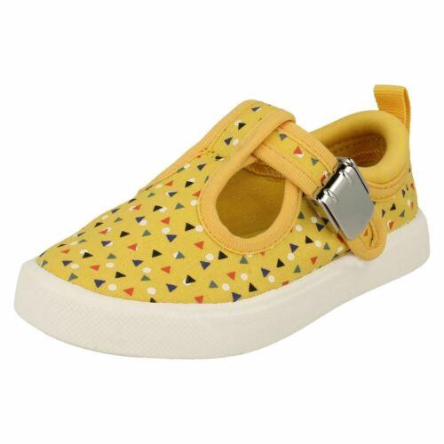 Infant Childrens Boys Girls Clarks T-Bar Buckled Textile Canvas Shoes City Spark