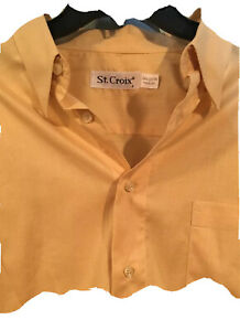 ST. CROIX Men's Long Sleeve Button Shirt Sz Large Made in ITALY