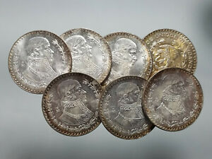 1957-1967-Silver-Mexican-1-Peso-Uncirculated-Big-34mm-Silver-Coin-1-Pc