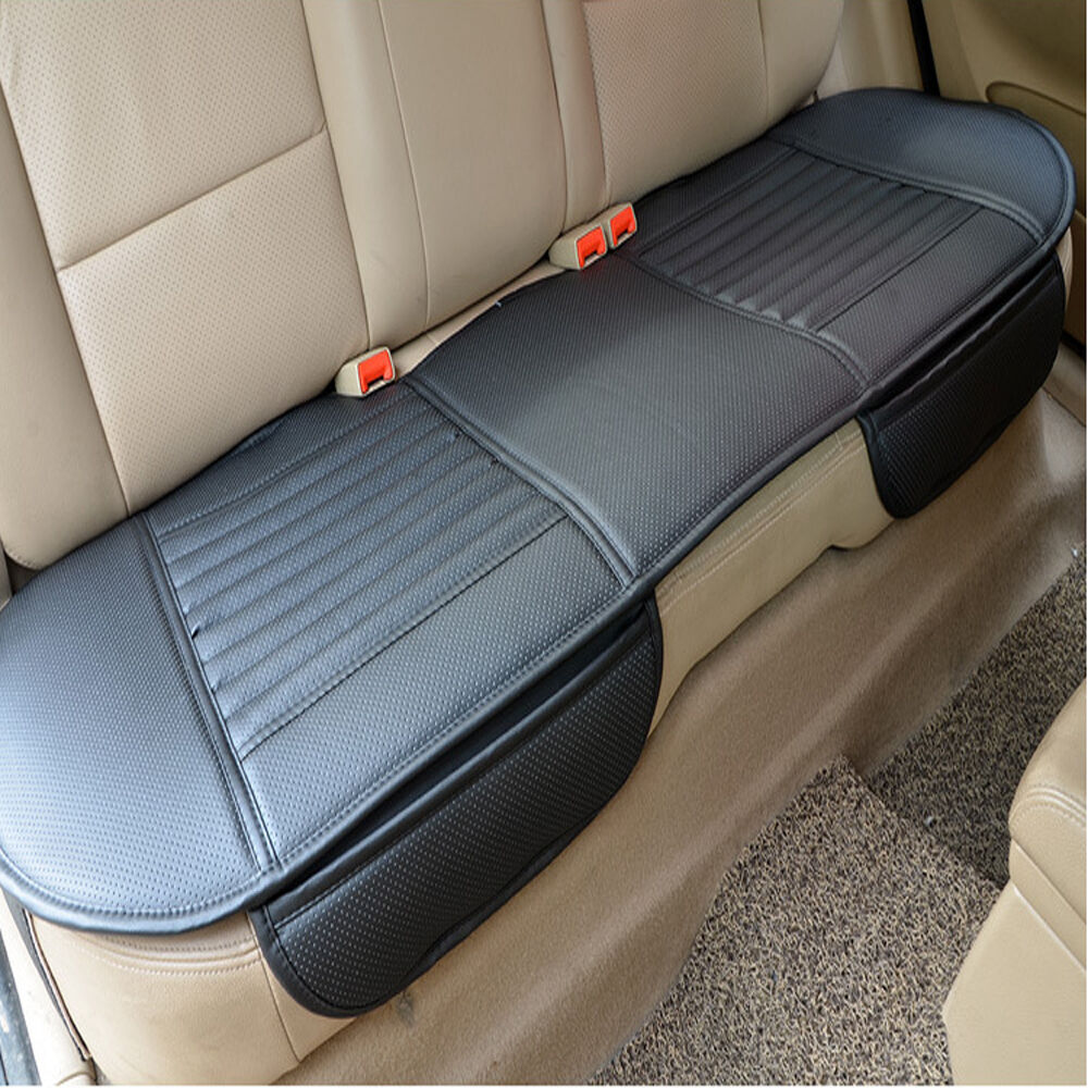 universal bamboo charcoal cushion seat pad pu leather car rear seat cover black ebay. Black Bedroom Furniture Sets. Home Design Ideas