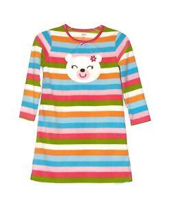 Carter's Girl's Small Size 4/5 Fleece Striped Teddy Bear Nightgown Sleepwear