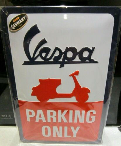 VESPA SCOOTERS PARKING ONLY EMBOSSED 3D METAL ADVERTISING SIGN 30x20cm PIAGGIO