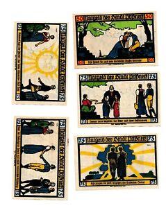 Pößneck Notgeld 5 Scheine. Los 1295. schoeniger-notgeld.