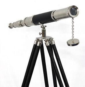 Maritime-Navy-Brass-Telescope-Silver-amp-Leather-Floor-Standing-Tripod-Home-Decor