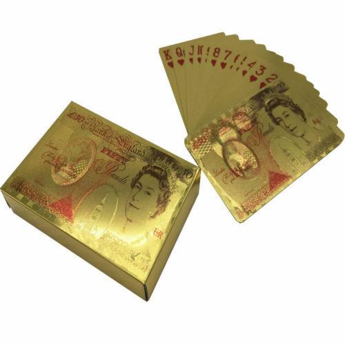 24k £50 Pound GOLD PLATED POKER PLAYING CARD-BRAND NEWSTOCK Uk Fast Dispatch