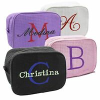 Monogrammed Travel Make Up Bag - Personalized Bridesmaid Cosmetic Case Makeup