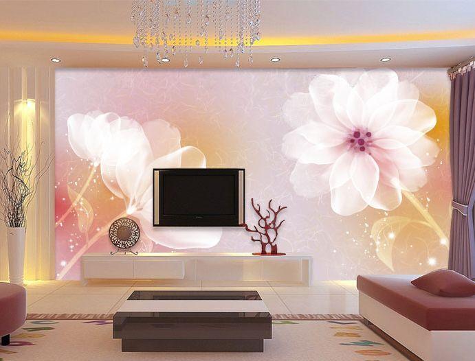 3D Warme pink Blüten Fototapeten Wandbild Fototapete Bild Tapete Familie Kinder