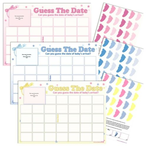 Baby Unisex Sweepstake GUESS THE DATE Baby Shower Game Party Game Yellow