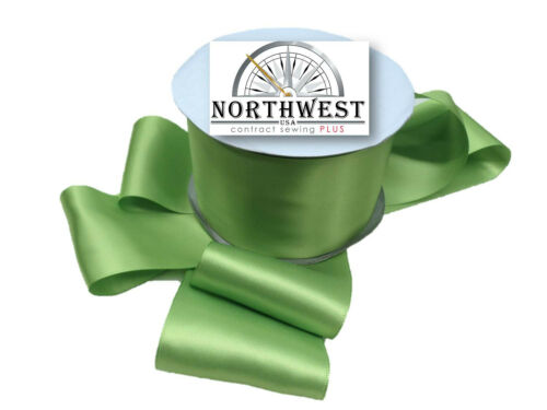 """3/"""" Double Faced Satin Ribbon 3 inches wide ~ Apple Green ~ 5 Yards ~ Washable"""