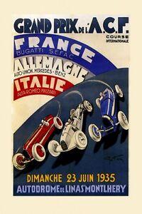 Grand Prix Car Race Bugatti Alfa Romeo Maserati Vintage Poster Repro - Alfa romeo poster