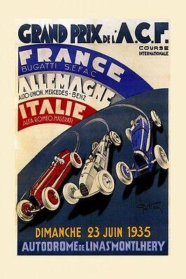 Grand Prix Car Race Bugatti Alfa Romeo Maserati Vintage Poster Repro FREE S/H