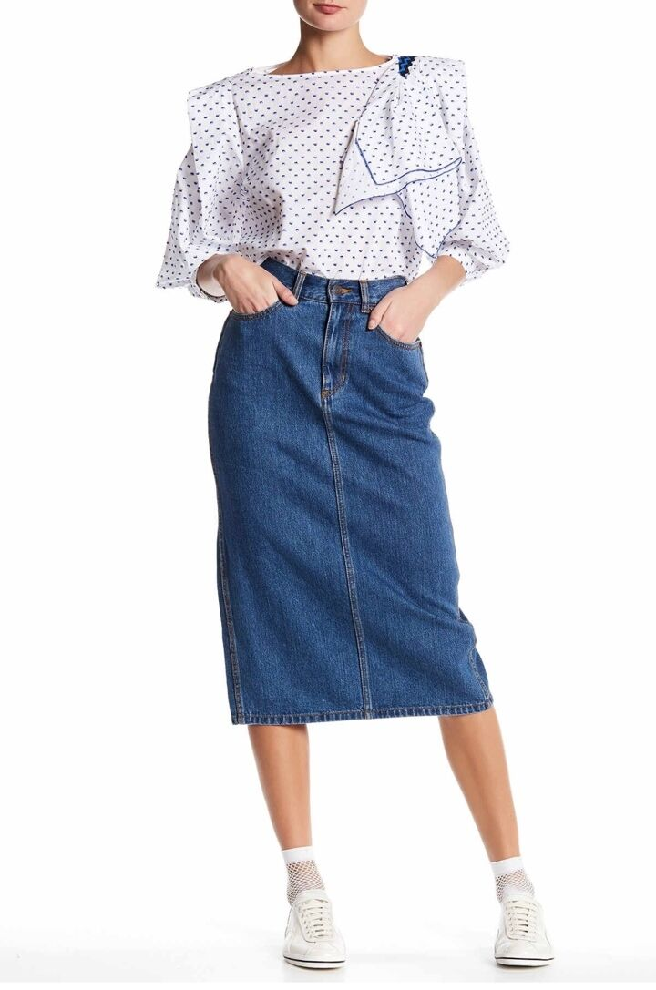NWT STELLA MCCARTNEY (sz 26) Womens bluee Cotton Jean Denim Knee Skirt