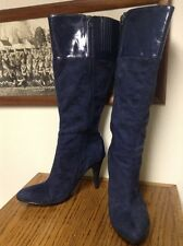 NOW!! Knee High Boots Women size 10 M Blue Faux Suede Leather