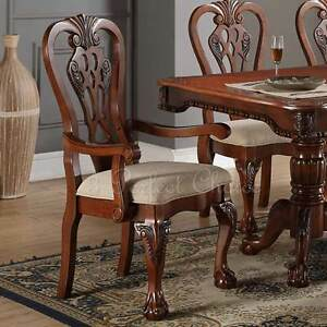 Set Of 2 Formal Dining Arm Side Chair Carving Legs Cherry Wood